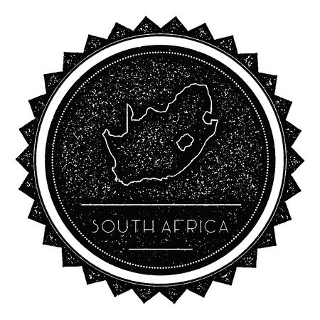 autograph: South Africa Map Label with Retro Vintage Styled Design. Hipster Grungy South Africa Map Insignia Vector Illustration. Country round sticker.