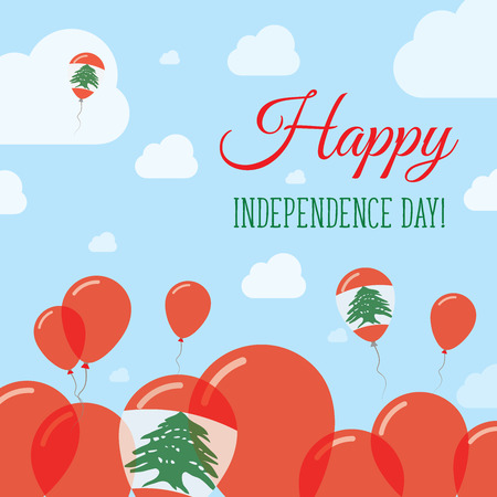 Lebanon Independence Day Flat Patriotic Design. Lebanese Flag Balloons. Happy National Day Vector Card.