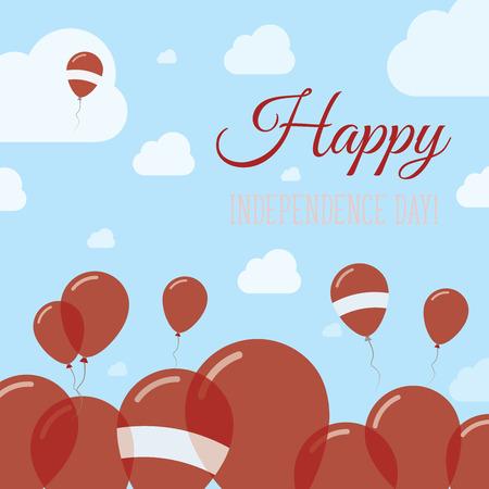 ラトビア独立記念日愛国フラット デザイン。ラトビアの旗の風船。ハッピーナショナルデー ベクトル カード。