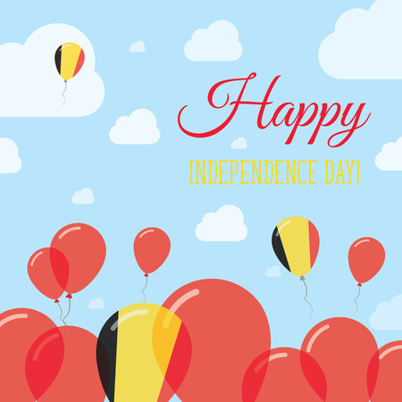 independency: Belgium Independence Day Flat Patriotic Design. Belgian Flag Balloons. Happy National Day Vector Card. Illustration