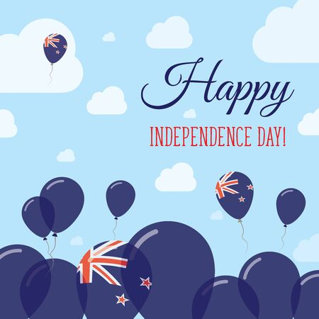 proclamation: New Zealand Independence Day Flat Patriotic Design. New Zealander Flag Balloons. Happy National Day Vector Card. Illustration