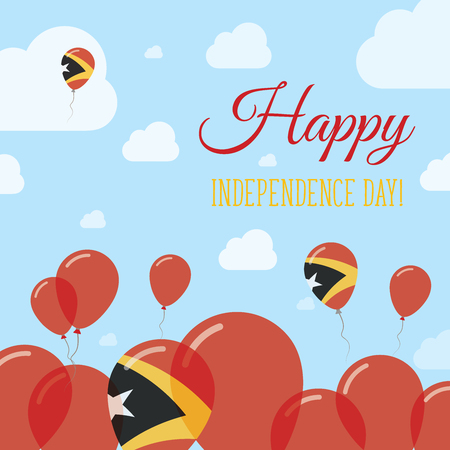 Timor-Leste Independence Day Flat Patriotic Design. East Timorese Flag Balloons. Happy National Day Vector Card.