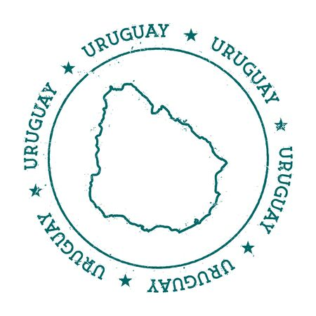 Uruguay vector map. Retro vintage insignia with country map. Distressed visa stamp with Uruguay text wrapped around a circle and stars. USA state map vector illustration. 向量圖像