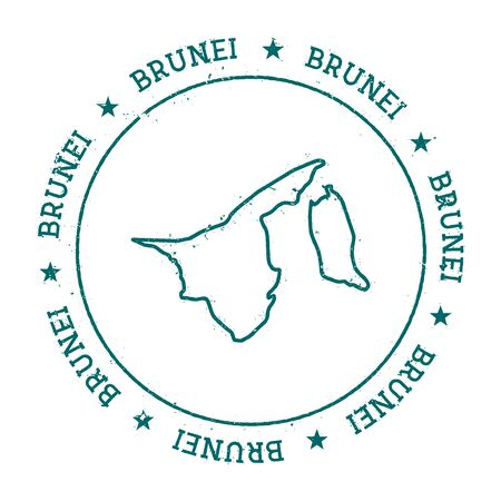 Brunei Darussalam vector map. Retro vintage insignia with country map. Distressed visa stamp with Brunei Darussalam text wrapped around a circle and stars. USA state map vector illustration.