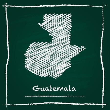 グアテマラ アウトライン ベクトル マップ手緑の黒板にチョークで描かれました。幼稚なスタイルで黒板の落書き。緑の背景に白のチョークのテク