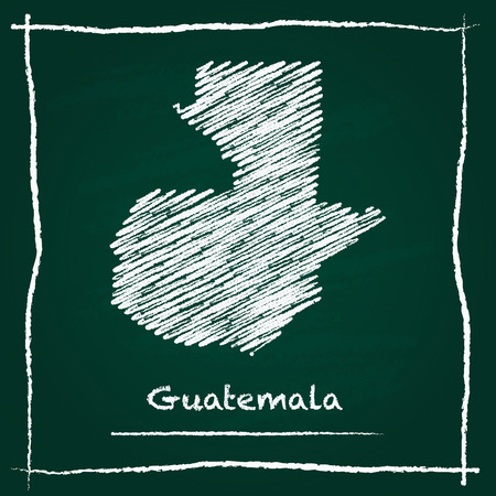 Guatemala outline vector map hand drawn with chalk on a green blackboard. Chalkboard scribble in childish style. White chalk texture on green background.
