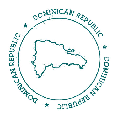 nationalism: Dominican Republic vector map. Retro vintage insignia with country map. Distressed visa stamp with Dominican Republic text wrapped around a circle and stars. USA state map vector illustration. Illustration