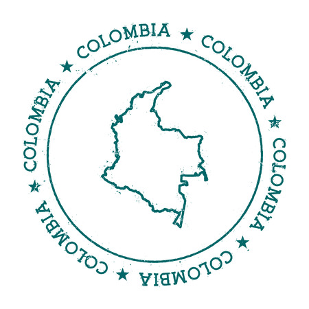 wanderlust: Colombia vector map. Retro vintage insignia with country map. Distressed visa stamp with Colombia text wrapped around a circle and stars. USA state map vector illustration.