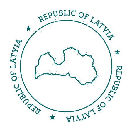 Republic of Latvia vector map. Retro vintage insignia with country map. Distressed visa stamp with Republic of Latvia text wrapped around a circle and stars. USA state map vector illustration.