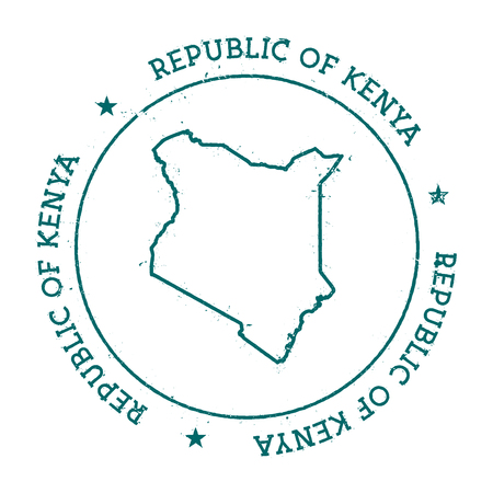 Kenya vector map. Retro vintage insignia with country map. Distressed visa stamp with Kenya text wrapped around a circle and stars. USA state map vector illustration. 向量圖像