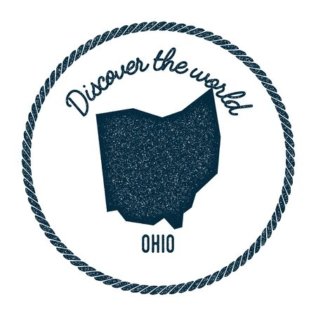 autograph: Ohio map in vintage discover the world rubber stamp. Hipster style nautical postage stamp, with round rope border. Vector illustration.