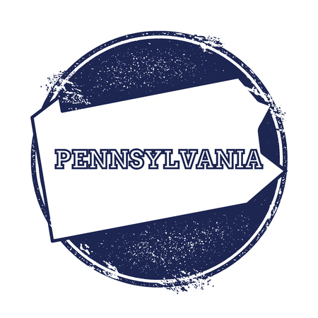 Pennsylvania vector map. Grunge rubber stamp with the name and map of Pennsylvania, vector illustration. Can be used as insignia, logotype, label, sticker or badge of USA state.