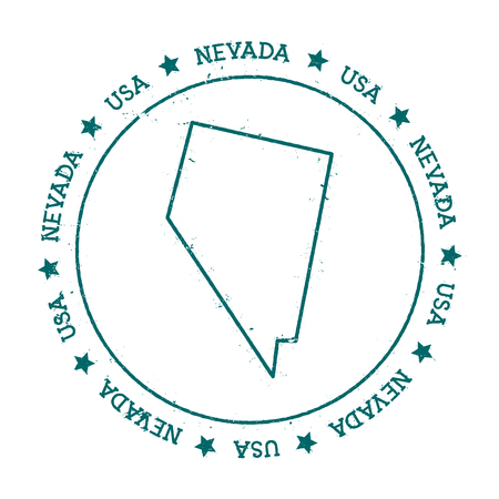 Nevada vector map. Retro vintage insignia with US state map. Distressed visa stamp with Nevada text wrapped around a circle and stars. USA state map vector illustration.