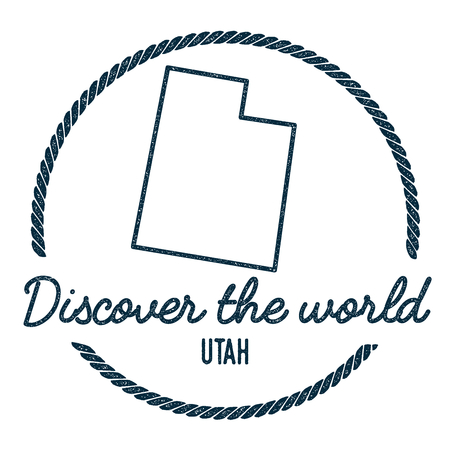 Utah Map Outline. Vintage Discover the World Rubber Stamp with Utah Map. Hipster Style Nautical Rubber Stamp, with Round Rope Border. USA State Map Vector Illustration.
