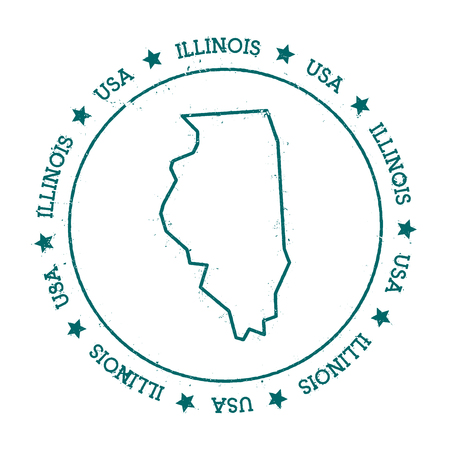 Illinois vector map. Retro vintage insignia with US state map. Distressed visa stamp with Illinois text wrapped around a circle and stars. USA state map vector illustration.