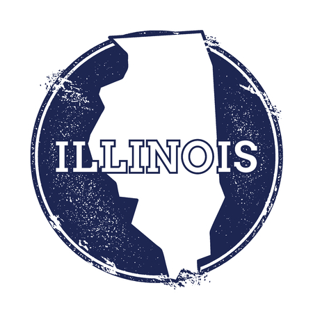 Illinois vector map. Grunge rubber stamp with the name and map of Illinois, vector illustration. Can be used as insignia, logotype, label, sticker or badge of USA state.