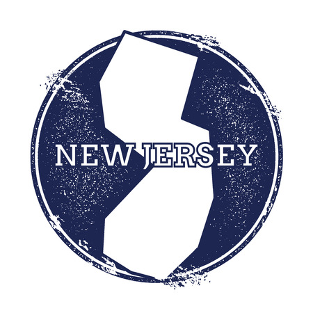 wanderlust: New Jersey vector map. Grunge rubber stamp with the name and map of New Jersey, vector illustration. Can be used as insignia, logotype, label, sticker or badge of USA state.