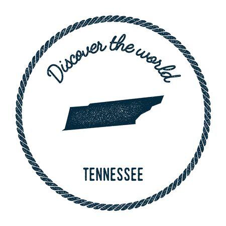 Mappa del Tennessee in vintage scoprire il timbro di gomma del mondo. Francobollo nautico stile hipster, con bordo in corda tonda. Illustrazione vettoriale