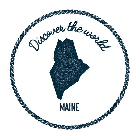 foreigner: Maine map in vintage discover the world rubber stamp. Hipster style nautical postage stamp, with round rope border. Vector illustration.