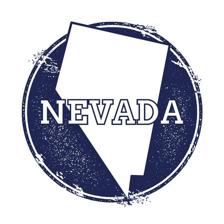 Nevada vector map. Grunge rubber stamp with the name and map of Nevada, vector illustration. Can be used as insignia, logotype, label, sticker or badge of USA state. Illustration