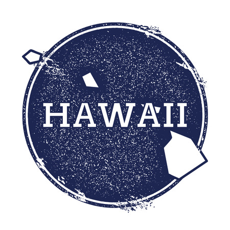 Hawaii vector map. Grunge rubber stamp with the name and map of Hawaii, vector illustration. Can be used as insignia, logotype, label, sticker or badge of USA state. Illustration