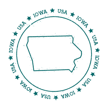 Iowa vector map. Retro vintage insignia with US state map. Distressed visa stamp with Iowa text wrapped around a circle and stars. USA state map vector illustration.
