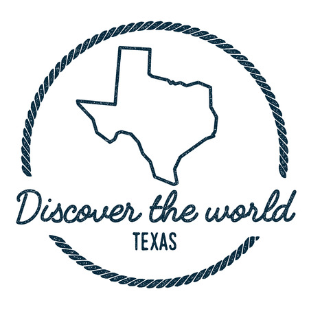 Texas Map Outline. Vintage Discover the World Rubber Stamp with Texas Map. Hipster Style Nautical Rubber Stamp, with Round Rope Border. USA State Map Vector Illustration.