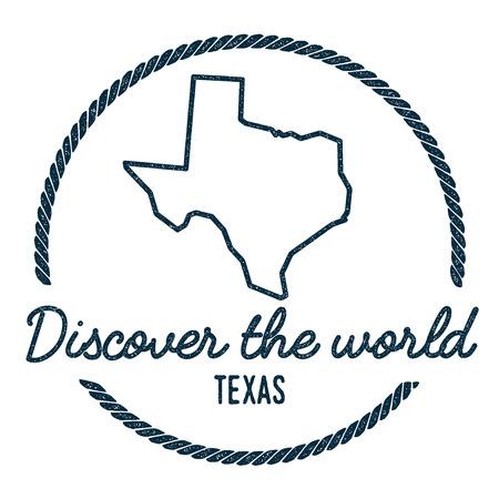 Texas kaart overzicht. Vintage ontdek de wereld Rubberstempel met de kaart van Texas. Hipster stijl nautische rubberen stempel, met ronde touwrand. USA staat kaart vectorillustratie. Vector Illustratie