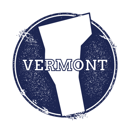 unusual: Vermont vector map. Grunge rubber stamp with the name and map of Vermont, vector illustration. Can be used as insignia, logotype, label, sticker or badge of USA state.