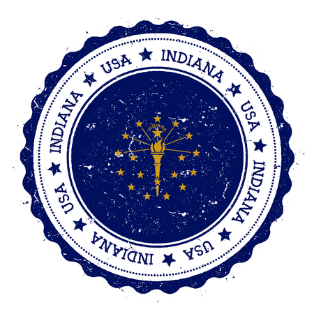 streamers: Indiana flag badge. Grunge rubber stamp with Indiana flag. Vintage travel stamp with circular text, stars and USA state flag inside it. Vector illustration. Illustration