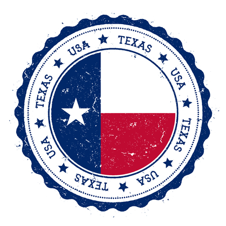 Texas flag badge. Grunge rubber stamp with Texas flag. Vintage travel stamp with circular text, stars and USA state flag inside it. Vector illustration. Vettoriali