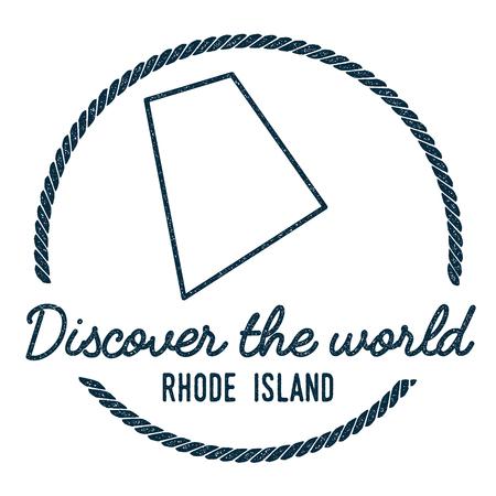 Rhode Island Karte Umriss. Weinlese Entdecken Sie die Weltstempel mit Rhode Island Map. Hipster-Art-Seestempel, mit runder Seil-Grenze. USA-Staatskarte-Vektor-Illustration.