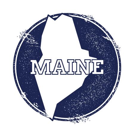 Mappa del vettore Maine. Grunge timbro di gomma con il nome e la mappa del Maine, illustrazione vettoriale. Può essere usato come insegna, logotipo, etichetta, adesivo o badge dello stato USA.