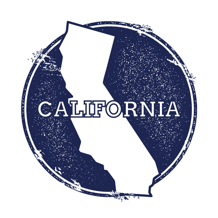 California vector map. Grunge rubber stamp with the name and map of California, vector illustration. Can be used as insignia, logotype, label, sticker or badge of USA state.