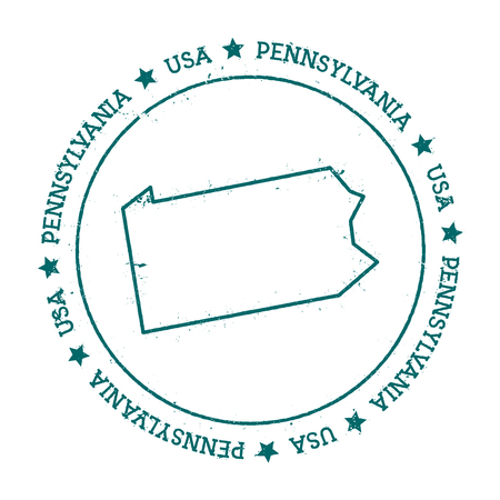 autograph: Pennsylvania vector map. Retro vintage insignia with US state map. Distressed visa stamp with Pennsylvania text wrapped around a circle and stars. USA state map vector illustration.