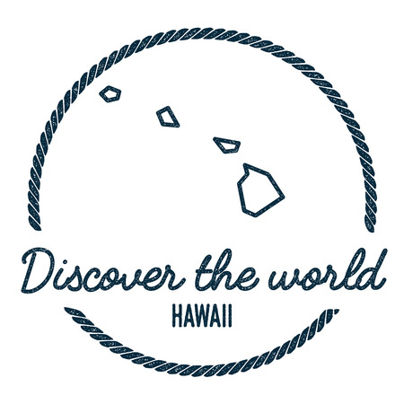Hawaii Map Outline. Vintage Discover the World Rubber Stamp with Hawaii Map. Hipster Style Nautical Rubber Stamp, with Round Rope Border. USA State Map Vector Illustration.