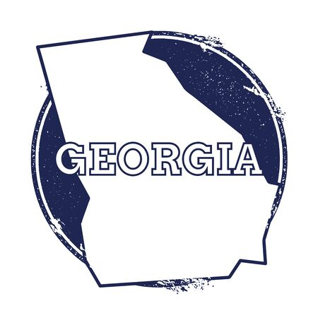 wanderlust: Georgia vector map. Grunge rubber stamp with the name and map of Georgia, vector illustration. Can be used as insignia, logotype, label, sticker or badge of USA state.