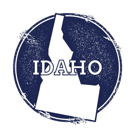 Idaho vector map. Grunge rubber stamp with the name and map of Idaho, vector illustration. Can be used as insignia, logotype, label, sticker or badge of USA state.