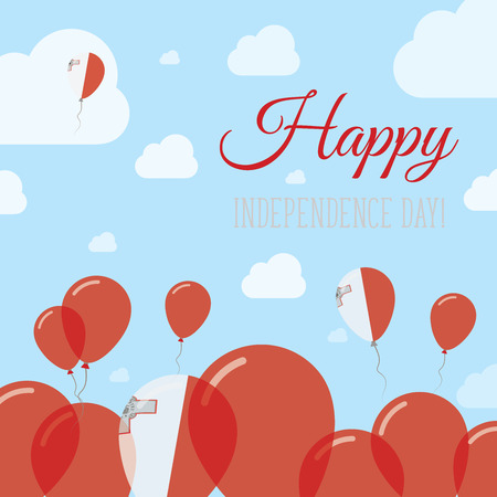 pied: Malta Independence Day Flat Patriotic Design. Maltese Flag Balloons. Happy National Day Vector Card. Illustration