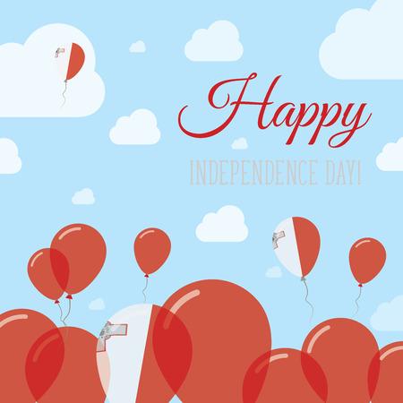 rejoicing: Malta Independence Day Flat Patriotic Design. Maltese Flag Balloons. Happy National Day Vector Card. Illustration