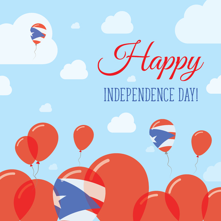 Puerto Rico Independence Day Flat Patriotic Design. Puerto Rican Flag Balloons. Happy National Day Vector Card. Illustration