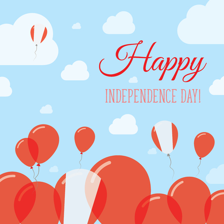 Peru Independence Day Flat Patriotic Design. Peruvian Flag Balloons. Happy National Day Vector Card. Illustration
