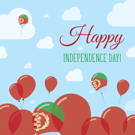 Eritrea Independence Day Flat Patriotic Design. Eritrean Flag Balloons. Happy National Day Vector Card.