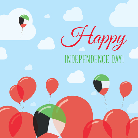 Kuwait Independence Day Flat Patriotic Design. Kuwaiti Flag Balloons. Happy National Day Vector Card. Illusztráció