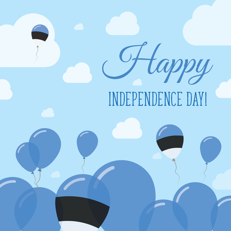 state of mood: Estonia Independence Day Flat Patriotic Design. Estonian Flag Balloons. Happy National Day Vector Card. Illustration