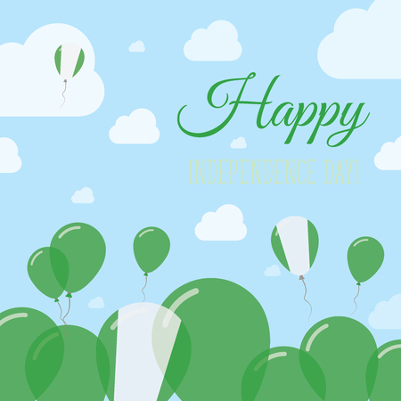 Nigeria Independence Day Flat Patriotic Design. Nigerian Flag Balloons. Happy National Day Vector Card.