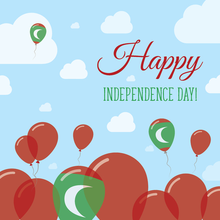 Maldives Independence Day Flat Patriotic Design. Maldivan Flag Balloons. Happy National Day Vector Card.