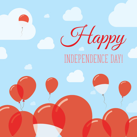 indo: Indonesia Independence Day Flat Patriotic Design. Indonesian Flag Balloons. Happy National Day Vector Card.