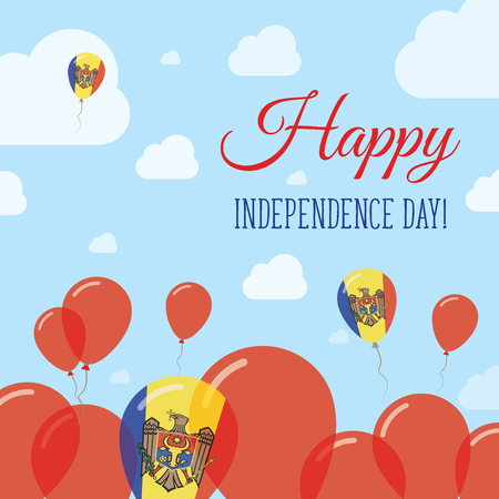 Moldova, Republic of Independence Day Flat Patriotic Design. Moldovan Flag Balloons. Happy National Day Vector Card.