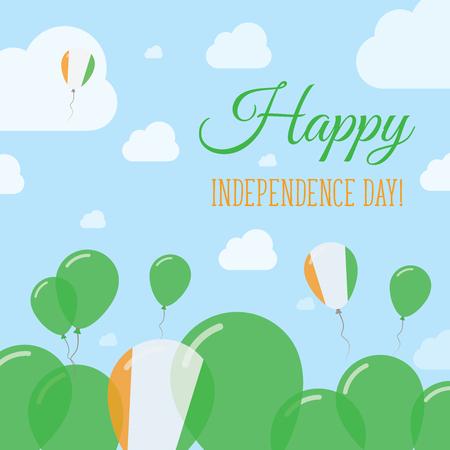 Cote DIvoire Independence Day Flat Patriotic Design. Ivorian Flag Balloons. Happy National Day Vector Card. Ilustração